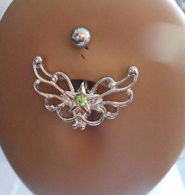 Surgical Steel Celtic Heart Star Belly Ring Crystal Gem 14 gauge 14g Green - I Love My Piercings!
