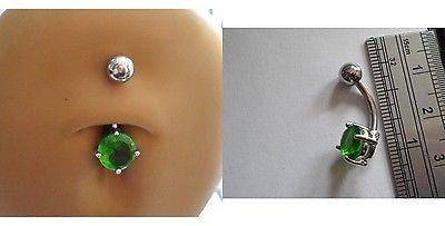 Surgical Steel Belly Ring Round Green Crystal Solitaire Claw Set 14 gauge 14g - I Love My Piercings!