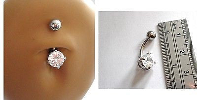 Surgical Steel Belly Ring Round Clear Crystal Solitaire Claw Set 14 gauge 14g - I Love My Piercings!