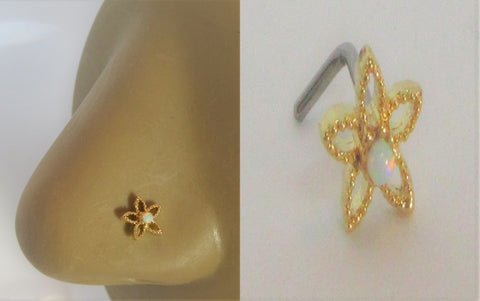 18k Gold Plated White Opal Beaded Star L Shape Bend Stud Pin 20 gauge 20g