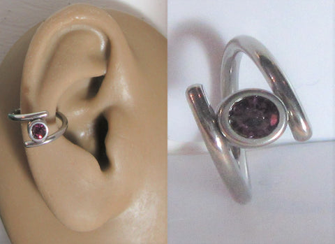 Surgical Steel Purple Gem Double Hoop Wrap Seamless Ring 14 gauge 14g 10 mm