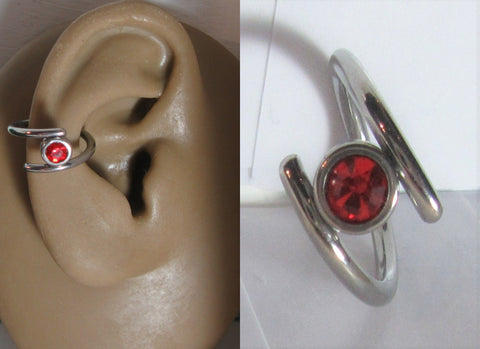 Surgical Steel Red Gem Double Hoop Wrap Seamless Ring 14 gauge 14g 10 mm