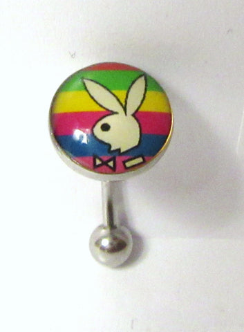 Surgical Steel Rainbow Bunny Bar VCH Clit Clitoral Hood Ring 16 gauge 16g