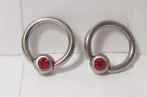 Surgical Steel Red Gem Crystal Small Hoops Tragus Rook Piercing 16 gauge 16g