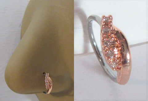 18k Rose Gold Plated Seamless Nose Jewelry Hoop Ring Curved Crystal Gem 20 gauge