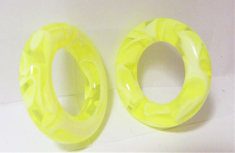 Pair Yellow Marble Light Acrylic Seamless Segment Hoops Rings Plugs 2 gauge 2g