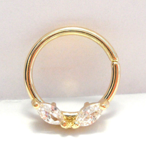 18k Gold Plated Marquise Crystal Seamless Hoop Cartilage Ring 16 gauge 16g 10 mm