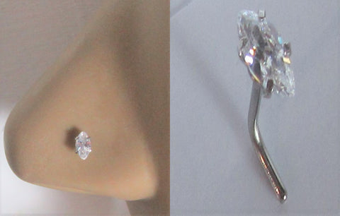 Surgical Steel Nose Stud Pin Ring L Shape Marquise Crystal Gem 20 gauge 20g