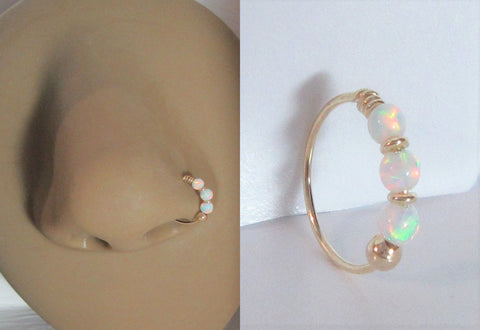 Yellow Gold White Opals Thin Nose Hoop 22 gauge 22g