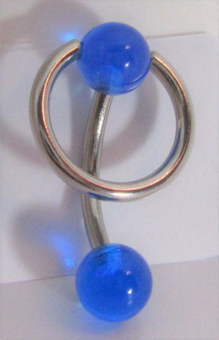 Surgical Steel Blue Dangle Hoop Curved Barbell VCH Jewelry Clit Bar Hood Ring 14g
