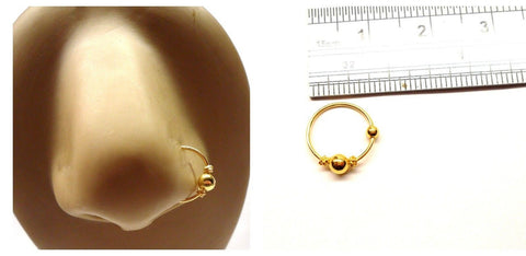 14k Gold Plated Nose Bali Ball Fancy Hoop Jewelry 20 gauge 20g