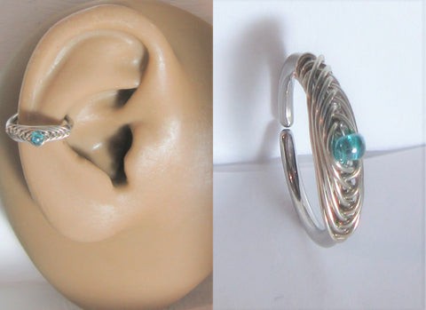Surgical Steel Woven Aqua Blue  Conch Wrap Seamless Hoop Ring 16 gauge 16g 10 mm