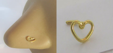 18k Gold Plated Open Heart Nose Bent L Shape Stud Pin Post 20 gauge 20g