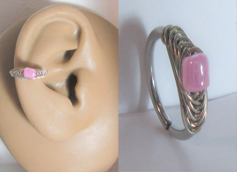 Surgical Steel Woven Purple Conch Wrap Seamless Hoop Ring 16 gauge 16g 10 mm