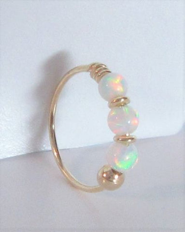 Yellow Gold White Opals Thin Hoop 22 gauge 22g