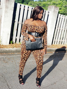 """Wild At Heart"" bell sleeve jumpsuit- plus size"
