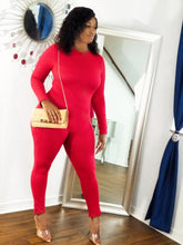 "Load image into Gallery viewer, ""Be Mine"" long sleeve jumpsuit"