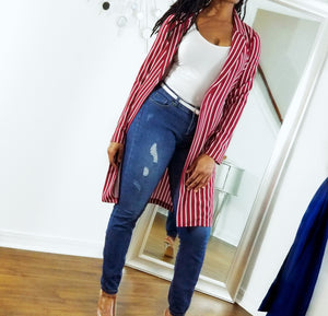 """Wrapped Up In You"" striped duster"
