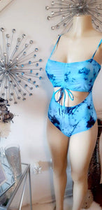 """Tied Down"" tie dye one piece swimsuit- plus size"