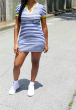 "Load image into Gallery viewer, ""Good Girl"" - Navy/lime striped dress"