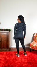 Load image into Gallery viewer, Matching hooded solid legging set black. Features a drawstring hooded jacket with a front zipper and two front pockets. Very stretchy.