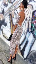 "Load image into Gallery viewer, ""Wild Thang"" backless snake print dress"