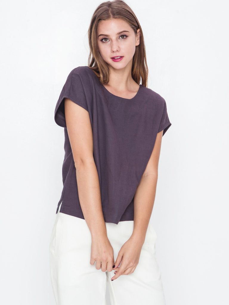 Drop Shoulder Button Top