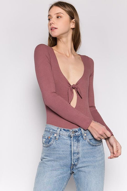 Knotted Long Sleeve Bodysuit