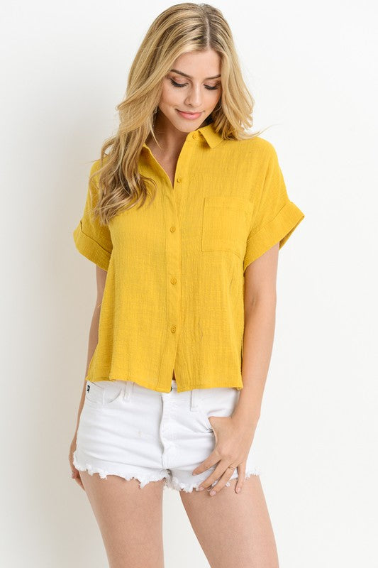 Textured Button Down Top
