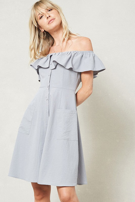 Off the Shoulder Button Dress