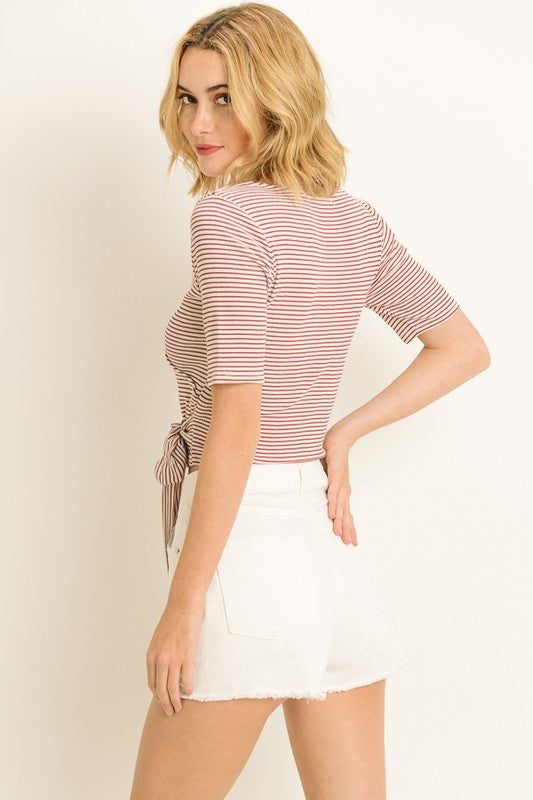 Striped Wraparound Tee