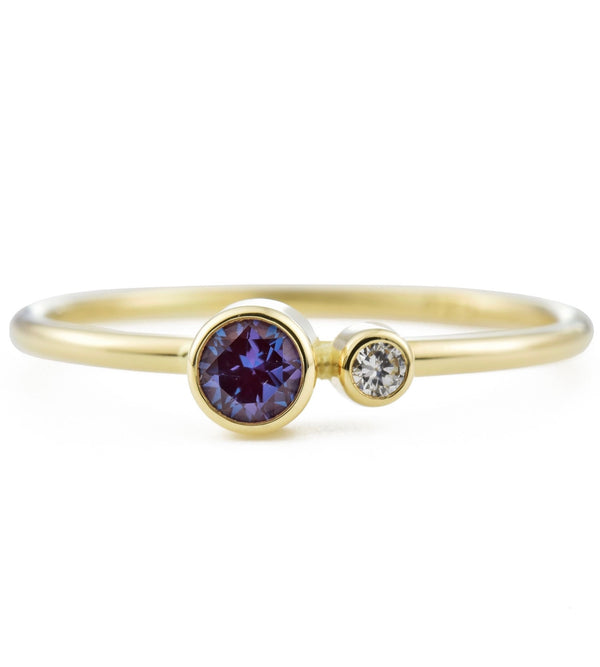 Alexandrite Diamond Kiss Ring - June Birthstone