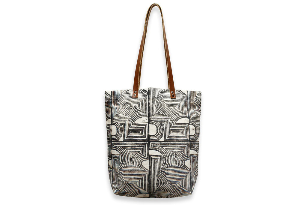 Concentric Geometric Block Printed Tote Bag