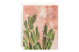 Coral Cactus Thank You Card