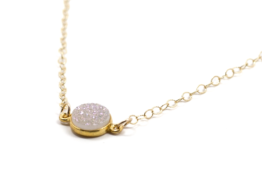 Delicate Druzy Drop Necklace