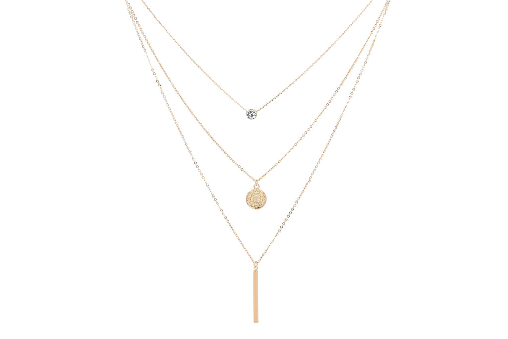 Layered Medallion Bar Necklace Set