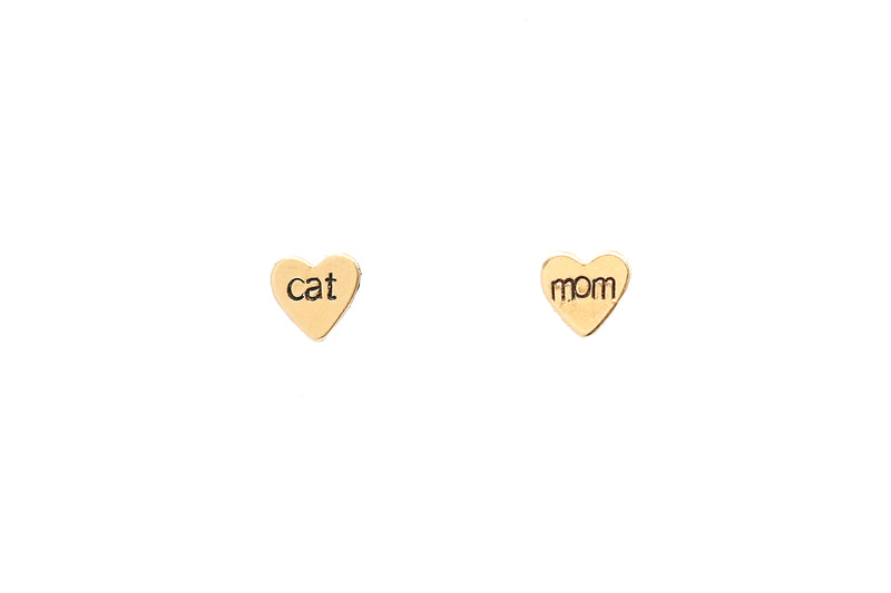 Cat Mom Heart Earrings