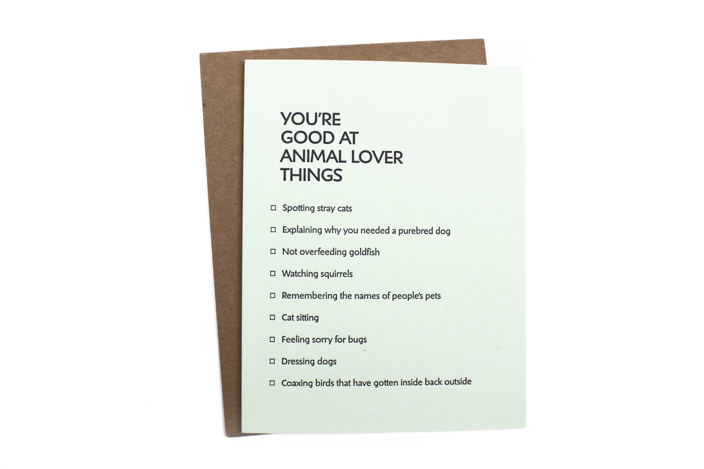 Animal Lover Things Card