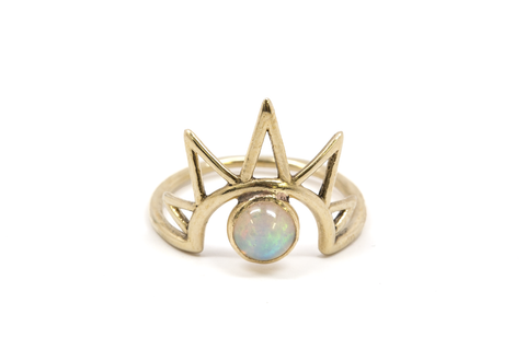 Rainbow Moonstone + Topaz Siren Ring