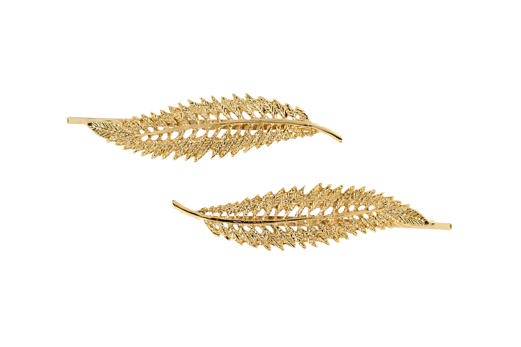 Golden Leaf Hair Clip Set