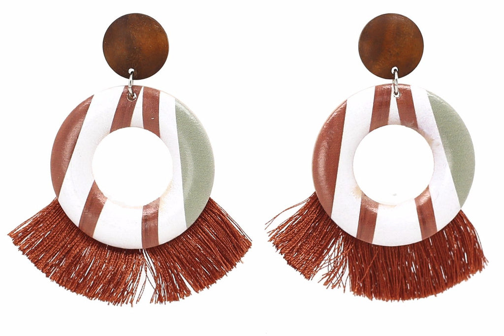 Striped Tassel Earrings