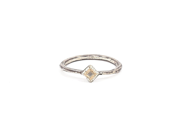 Two Tone Tapered Diamond Ring