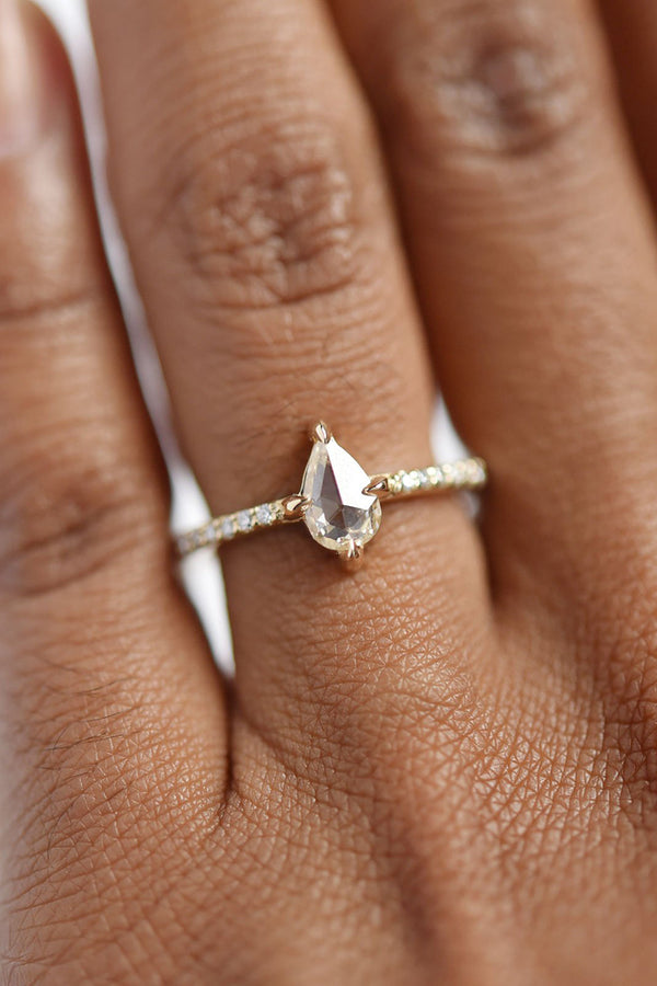 Aria Champagne Pear Diamond Ring