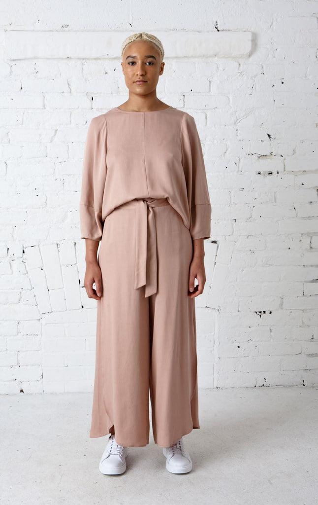 Overlapping Split Wide Leg Pants