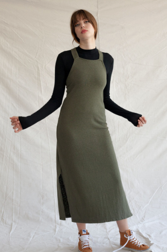 Recycled Cotton + Tencel Apron Dress
