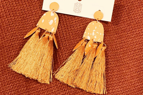 Speckled Tassel Drop Earrings