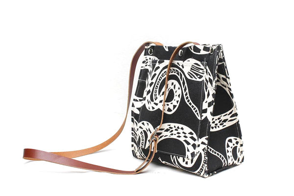 Snake Screen Print Crossbody Tote