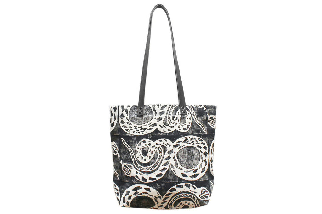 Snake Block Printed Tote Bag