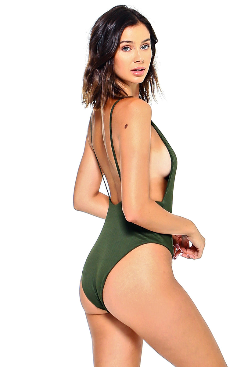Ribbed Solid One Piece