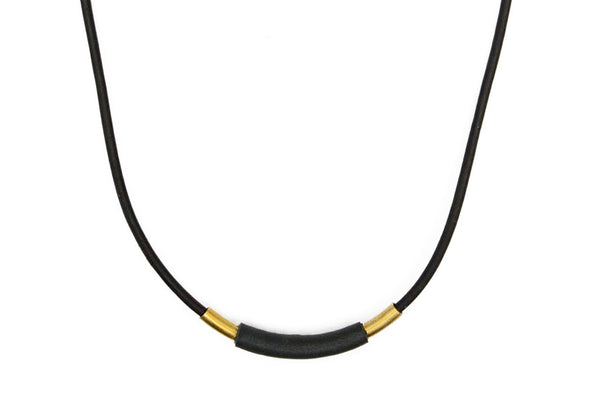 Leather Wrapped Tube Necklace